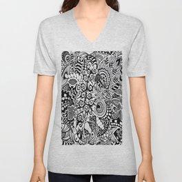 Mushroom madness black and white Unisex V-Neck