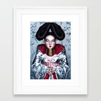 bjork Framed Art Prints featuring BJORK by Denda Reloaded
