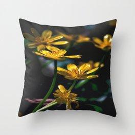 Yellow Spring Flowers Throw Pillow