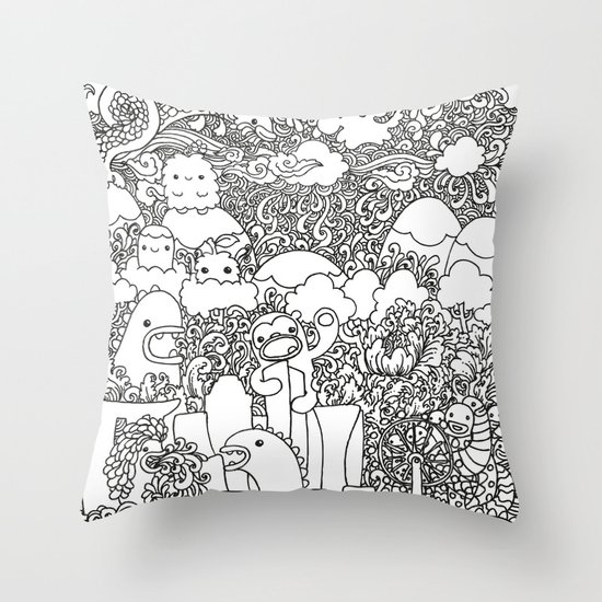 Oodles of Doodles of Singapore White Throw Pillow by