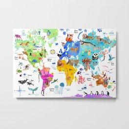 World Map Of Animals Metal Print