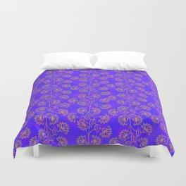 Georgian Floral Gold on Purple Duvet Cover