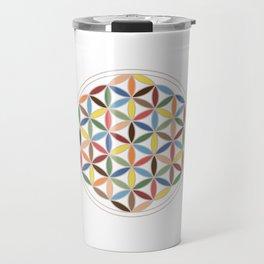 Flower of Life Retro Colors Travel Mug