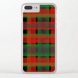 Red, green tartan plaid. Clear iPhone Case