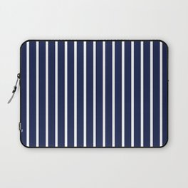 Navy Blue and White Vertical Stripes Pattern Laptop Sleeve