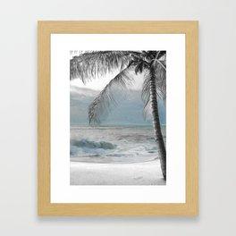 White Coconut Palm Tree Framed Art Print