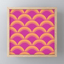 Japanese Fan Pattern Magenta and Orange Framed Mini Art Print