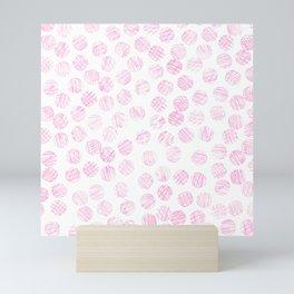Girly pink watercolor hand painted polka dots Mini Art Print