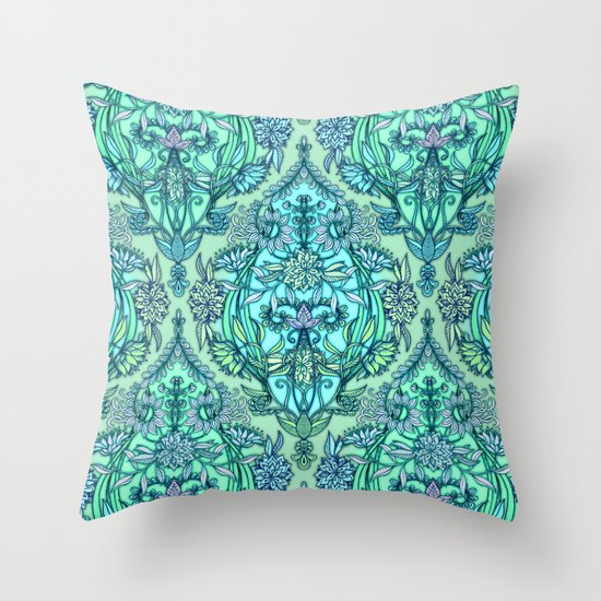 Botanical Moroccan Doodle Pattern in Mint Green, Lilac & Aqua Throw Pillow
