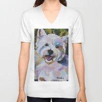 westie V-neck T-shirts featuring Westie Impressionism Pet Portrait Larsen 1 by Karren Garces Pet Art