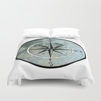 compass Duvet Covers featuring Compass by madbiffymorghulis