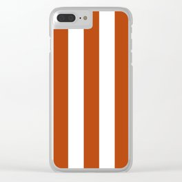 Rust brown - solid color - white vertical lines pattern Clear iPhone Case