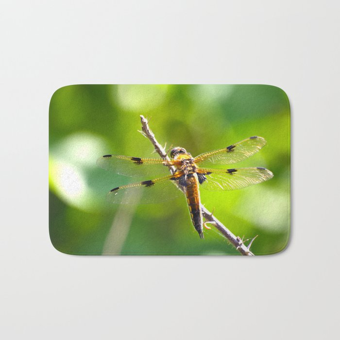 Dragonfly On A Branch Of A Rose #decor #society6 Bath Mat