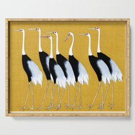 Flock of Japanese red crown crane by Ogata Korin Serving Tray