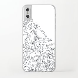 Flowery Corner Florals - Black and White Clear iPhone Case