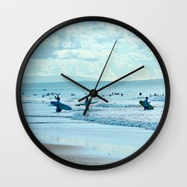 Surfers Beach Sea Waves Scenic Seascape Wall Clock
