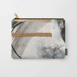 Armor [7]: a bold minimal abstract mixed media piece in gold, black and white Carry-All Pouch