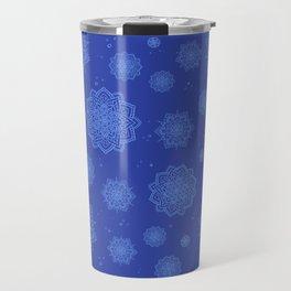Feathered Mandala Pattern - Indigo Travel Mug