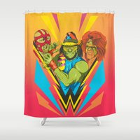 wrestling Shower Curtains featuring Classic Wrestling by RJ Artworks