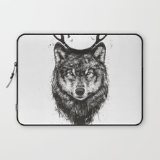 Deer wolf (b&w) Laptop Sleeve
