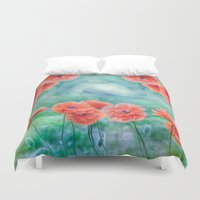 poppies Duvet Covers featuring Poppies by LudaNayvelt