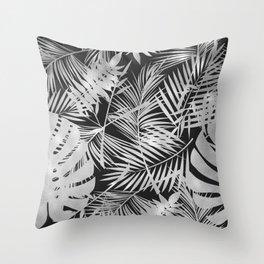 Black & Silver Exotic Pattern Throw Pillow