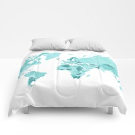 Distressed world map in aquamarine and teal Comforters