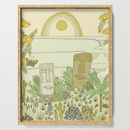 tiki gods send waves and peace swamis // retro surf art by surfy birdy Serving Tray