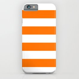 Bright Tumeric Orange and White Wide Horizontal Cabana Tent Stripe iPhone Case