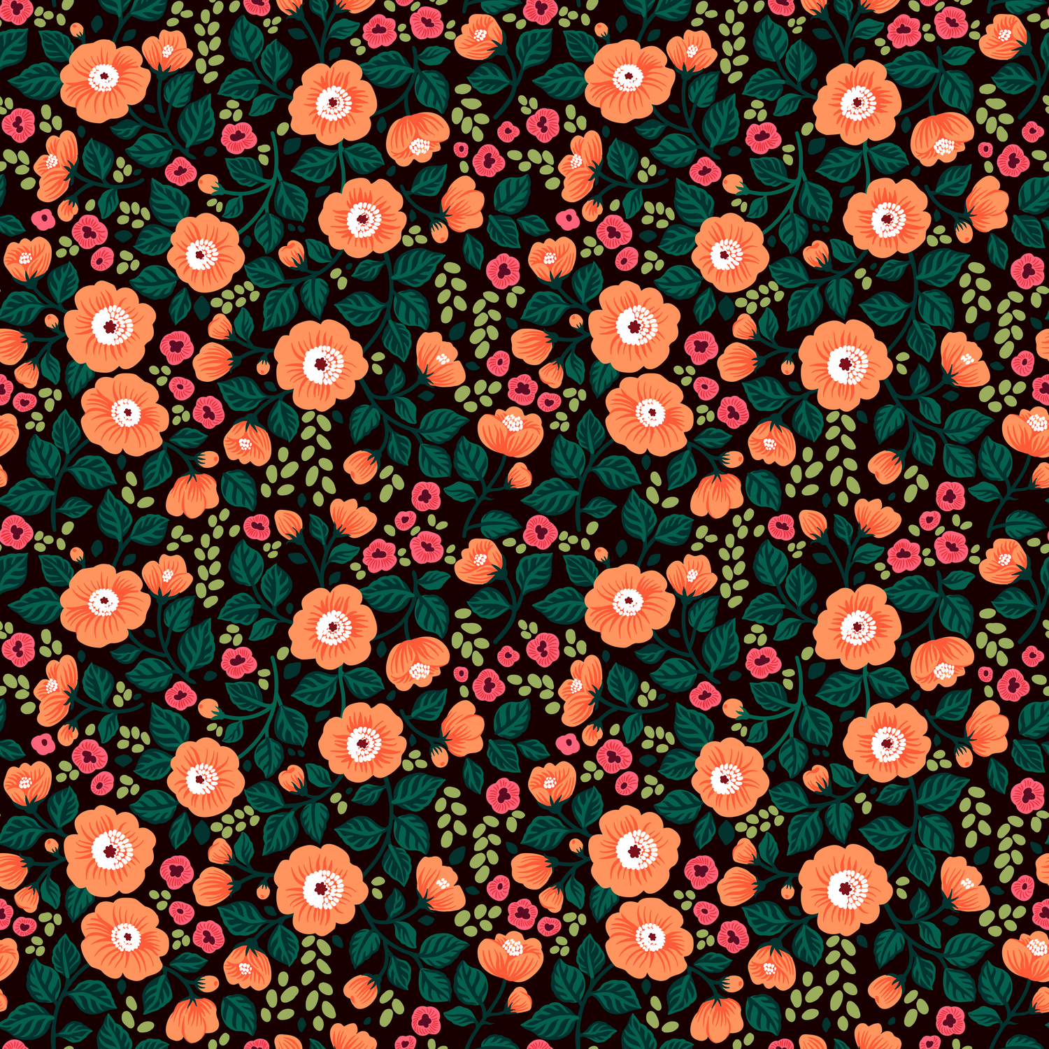 08 Floral Pattern Black Background Orange Flowers Comforters By
