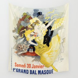 Paris masquerade ball 1896 by Chéret Wall Tapestry