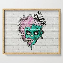 Zombie Graffiti Wall Serving Tray