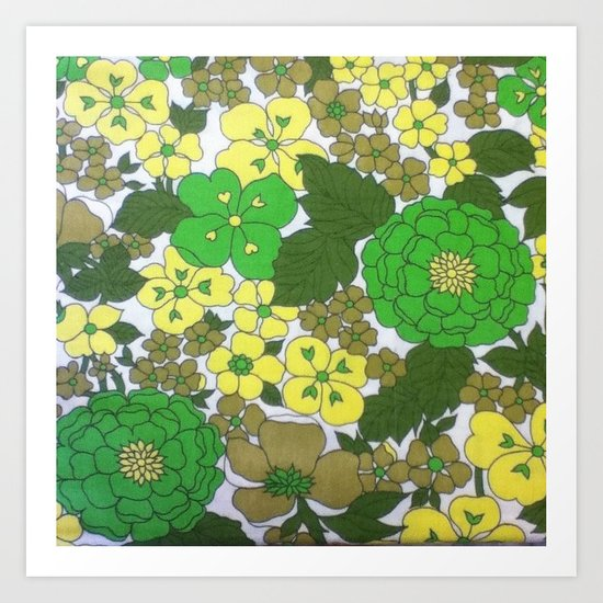 Retro floral sheets greens Art Print