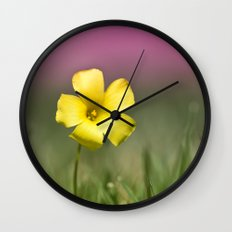 Yellow on Pink Wall Clock
