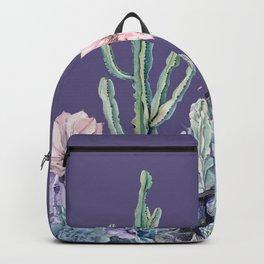 Desert Cactus Succulents + Gemstones on Deep Purple Backpack
