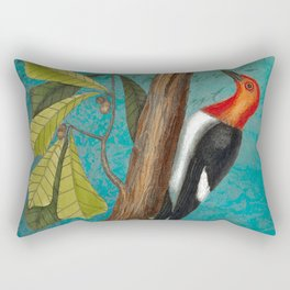Red Headed Woodpecker with Oak, Natural History and Botanical collage Rectangular Pillow