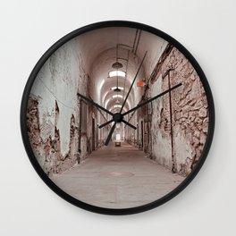 Crimson Prison Corridor Wall Clock