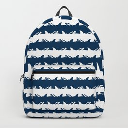 Blue and White Nightmare Holiday Beach Stripes Backpack