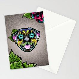 Rottweiler - Day of the Dead Sugar Skull Dog Stationery Cards