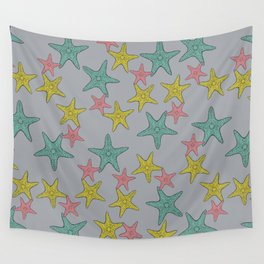 Starfish gray background Wall Tapestry