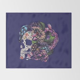 Day of the dead floral sugar skull with flowers colorful design Throw Blanket