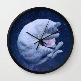 Cuddly Moon Cat Wall Clock