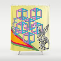hipster Shower Curtains featuring hipster by mark ashkenazi