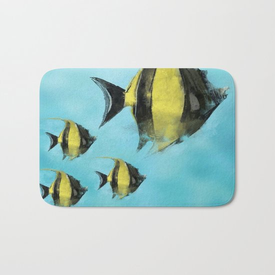 Fish Watercolor  Bath Mat