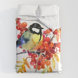 Great tit and berries Comforters