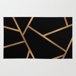 Black and Gold Fragments - Geometric Design Rug