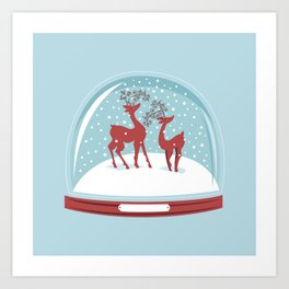 Retro Snow globe. Couple Deer. Art Print