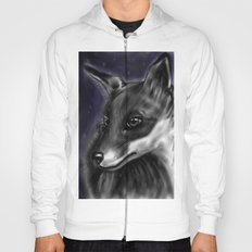 Black and white version of red fox Hoody