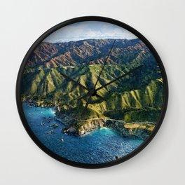 Pacific Coast Highway, Coastal California Santa Lucia Mountains landscape painting Wall Clock
