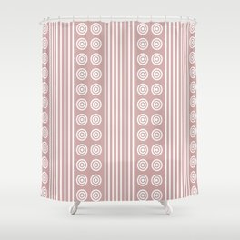 Geometric Stripes and Circles - White on Dusky Pink Shower Curtain